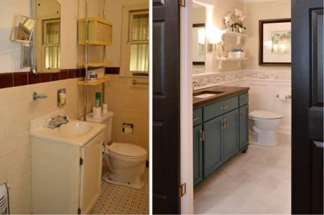 Um banheiro reformado antes e depois